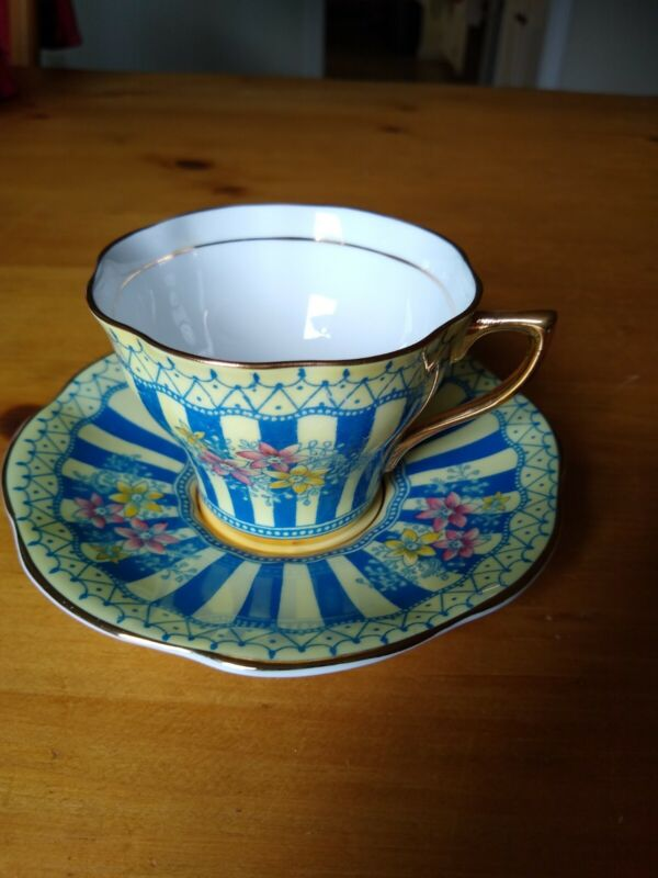 Vintage Teacup And Saucer Rosina Bone China 5350 Yellow with Blue Stripes