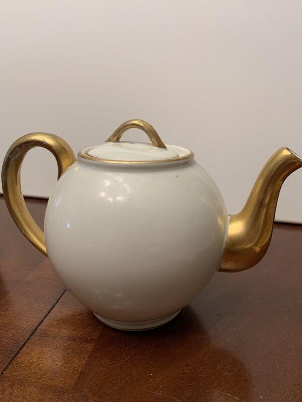 Bistro Porcelain Mehun, France C.P. & Co. Teapot Gold Gilt Antique