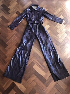 Vintage 1970s 70s Flared Maroon Leather Jumpsuit 6-8 Disco