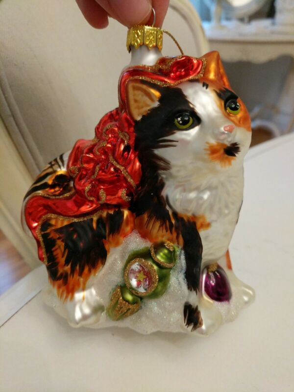 large Thomas Pacconi Glass Ornament  Cat bow