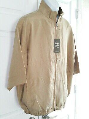 bobby chan mens silk short sleeve full zip windbreaker golf jacket Khaki brown L
