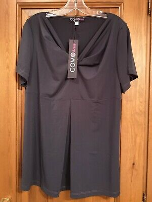 Taglie Forti Donna Manica Corta T Shirt MADE IN ITALY Tg 54 Color ZINCO