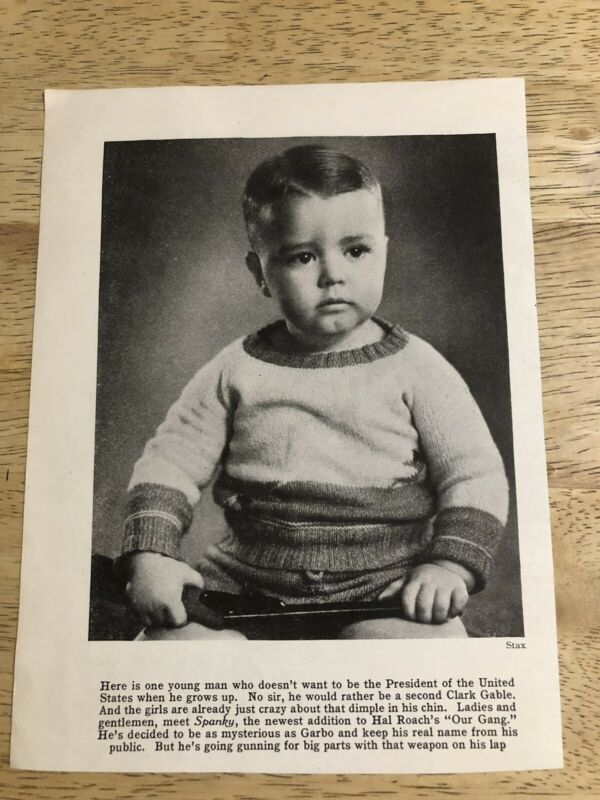 Introducing SPANKY from Hal Roach OUR GANG - Vintage 1931 Magazine Clipping
