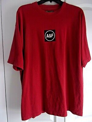 NEW Men's XL T-Shirt Red Abercrombie & Fitch 100% Cotton Short Sleeve Made-USA
