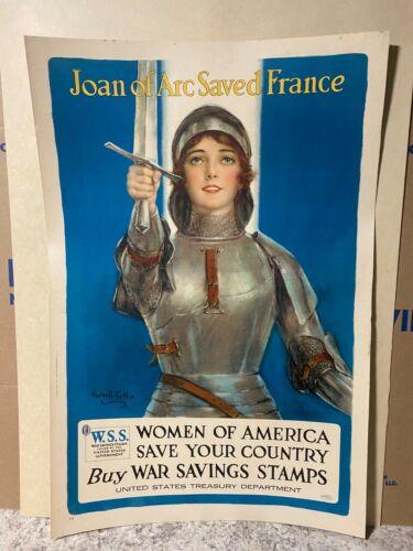 Joan Of Arc Saved France Original WW1 W.S.S. War Poster, Women for America