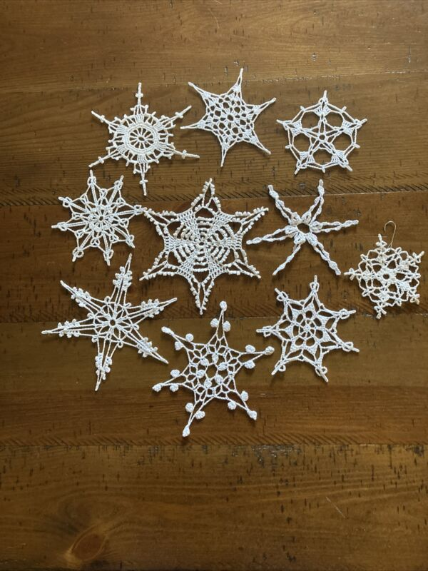 vintage Lace Crocheted Snowflake Doilies Ornaments Set Of 10