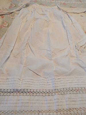 """Antique Vintage White Cotton and Lace Half Apron  36 """"Long"""
