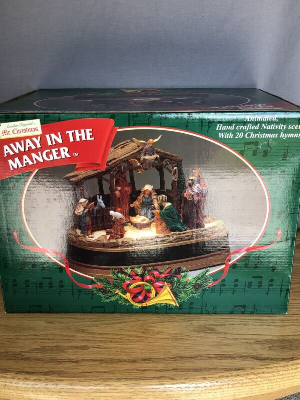 Mr. Christmas Away in the Manger Lighted Nativity with 20 Songs IOB Excellent