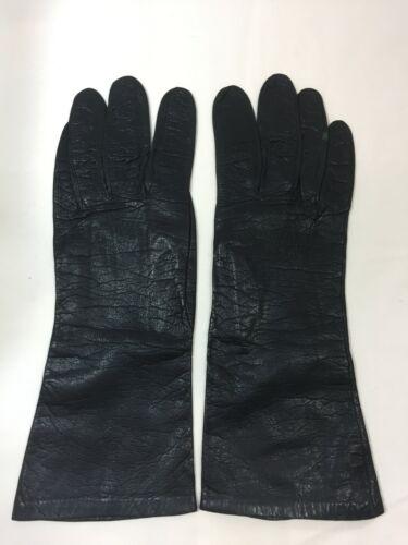 Vintage Black Kid Leather Silk Lined Gloves CHRISTIAN DIOR 7.5