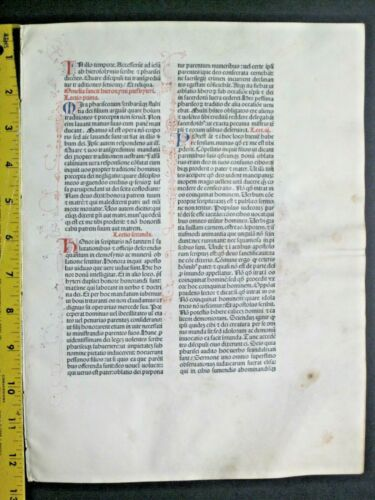Extremely rare incunabula,Breviary leaf on vellum,handpt.initials,Jenson,1478#8