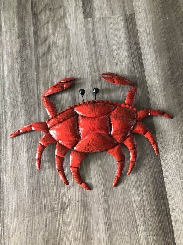 Red Crab Metal Wall Decor Cabin Lake Home New