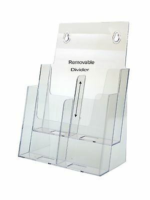Magazine Rack Or Tri Fold Brochure Holder 2 - 4 Pocket Display Clear Acrylic