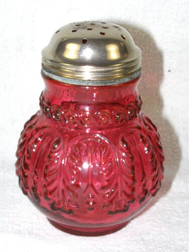 Antique Northwood Glass Sugar Shaker - Cranberry Leaf Umbrella