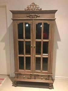 Glass & timber cabinet French style shabby chic Mount Pleasant Melville Area Preview