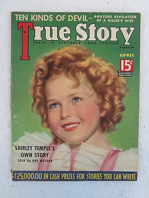 Vintage TRUE STORY Magazine April 1936 SHIRLEY TEMPLE'S OWN STORY Cover