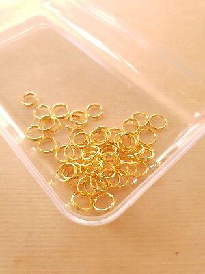 50 x Spaltringe zur Schmuckherstellung ♥ Basteln Montage Zubehör Gold Ø 8mm