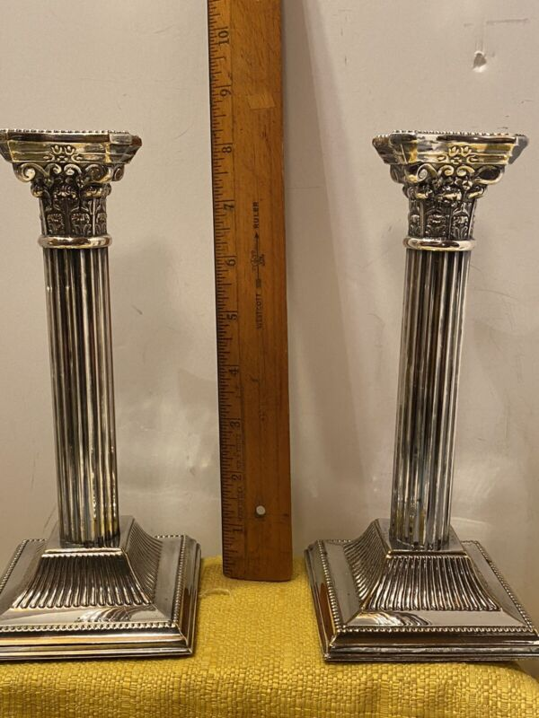ANTIQUE ENGLISH PAIR CORINTHIAN COLUMN CANDLE STICKS SILVERPLATE