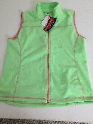 SF Co. Womens G LimeGreen Pink Trim  Micropolar Fleece Sleeveless Vest  Full Zip