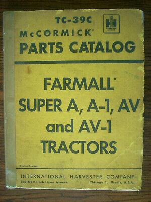 Ih Farmall Mccormick International Super A Av A-1 Av-1 Parts Manual
