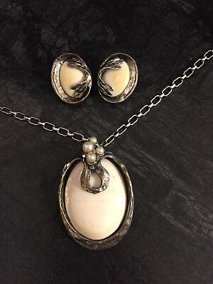 SET Pe Perli Silberanhänger Ohrclips Clips Ring Kette Perlen Bein 835er Silber - Perle Silber Beine