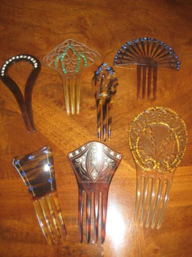 Antique Vintage/Collectable Ornate Hair Combs Haircomb Lot of 7