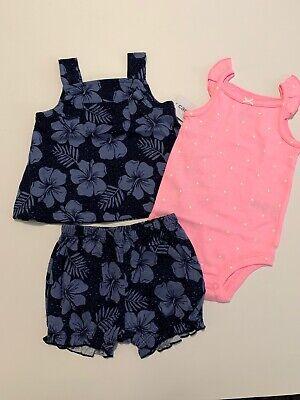 Carters Girl Floral Tank Top Bodysuit Bubble Shorts Size 3 6 9 12 18 Month Blue