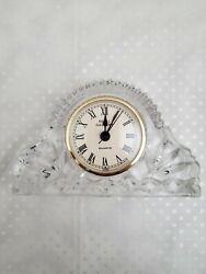 Vintage Lead Crystal Glass Quartz Mantle Desk Table Clock Royal Gallery