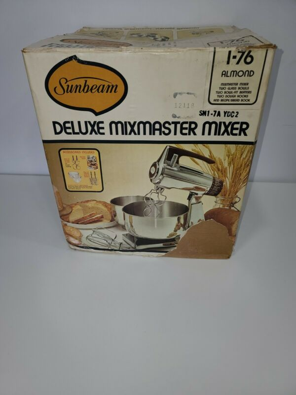 Vintage Sunbeam Deluxe Mixmaster 12 Speed 2 Beaters, Bowl Recipe & Instructions!