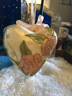 1 - Capiz Shell Heart Shaped/ Rose Design Ornament With Gold Tone Filigree