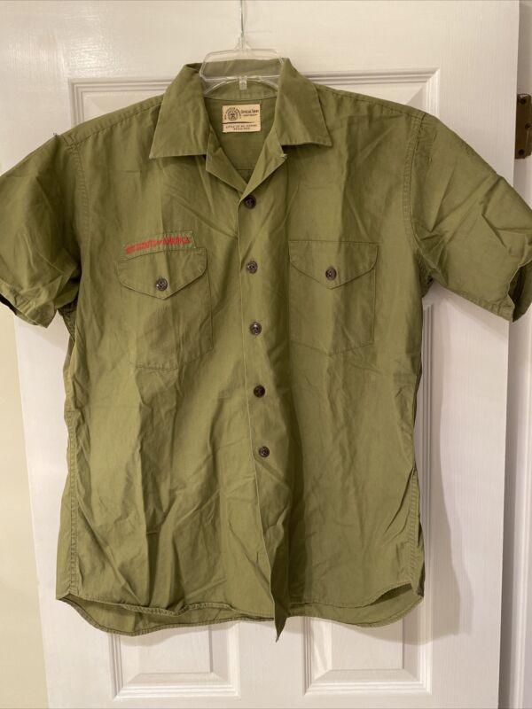 Vintage Olive Green BSA Boy Scout uniform shirt Short Sleeve     #25