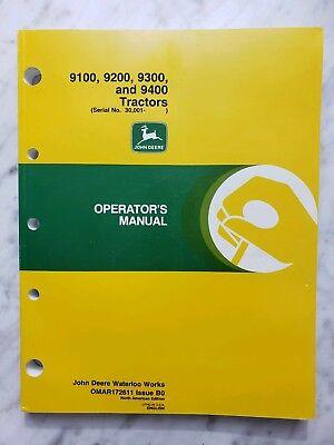 John Deere 9100 9200 9300 9400 Tractor Operators Manual Very Good Clean