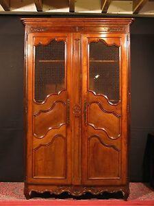 Ancienne armoire bibliotheque grillag en noyer 18 me louis xv campagnard ebay - Armoire ancienne louis xv ...