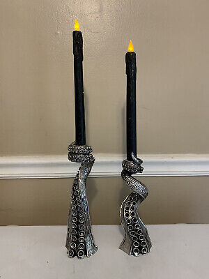 """Pair Of Tentacle Candlestick Holders W/ Black Candles Halloween Silver 10""""& 9"""""""