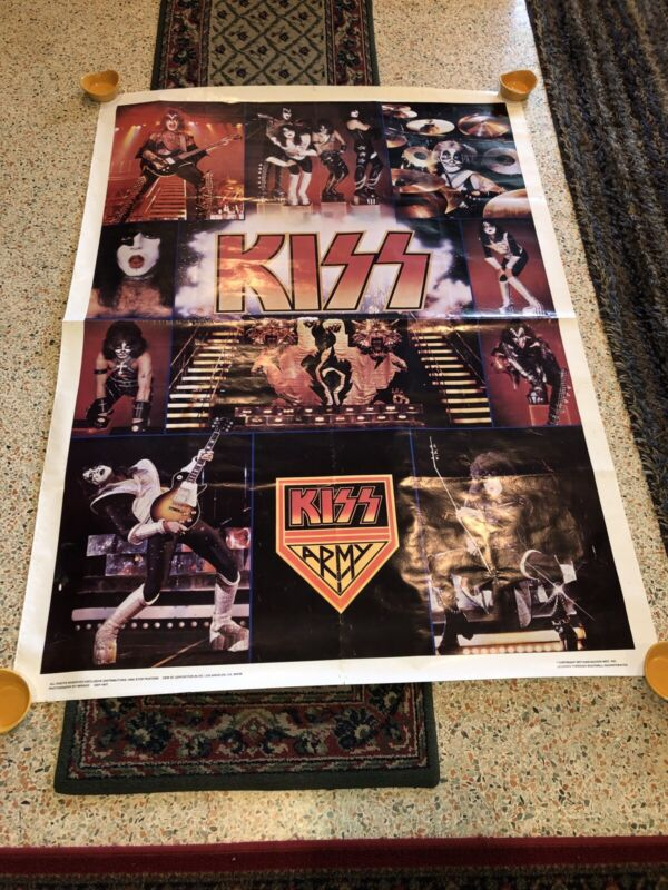 """Vintage KISS Army Jumbo Poster 42""""x 58"""" 1977 AUCOIN Boutwell One Stop Posters"""