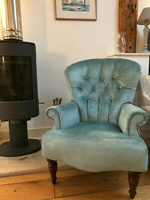 Parker Knoll Edward Armchair Newly Upholstered In Laura Ashley Villandry Duckegg