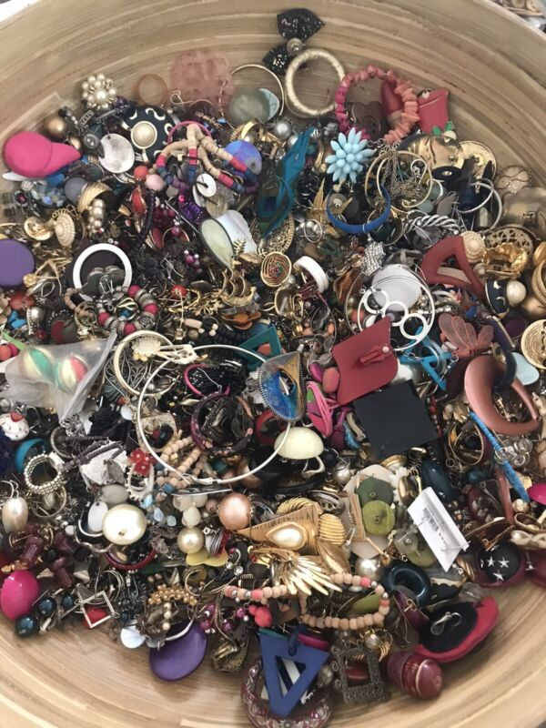 Huge Single Earring Lot Crafting Vintage to Now Rhinestone Big Statement 6 lbs