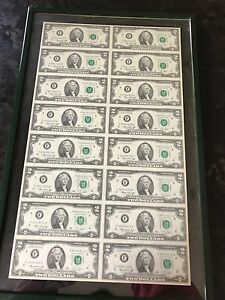 US Government Issued uncut sheet of $2 Bills