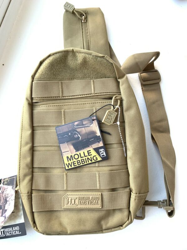 Highland Tactical Expo Adjustable Sling Crossbody Chest Bag Molle Webbing Desert