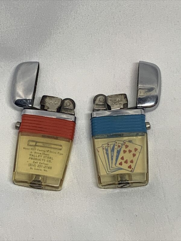 2 Vintage Scripto Vu Lighter Lot with advertisement Valley Steel & Playing Cards