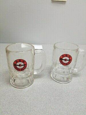 "2  A & W Root Beer Mugs 4 1/4"" Orange and Brown Bulls Eye Arrow"