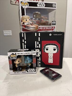 Funko Pop Star Wars Smugglers Bounty Box Luke Skywalker Land Speeder Leia Box
