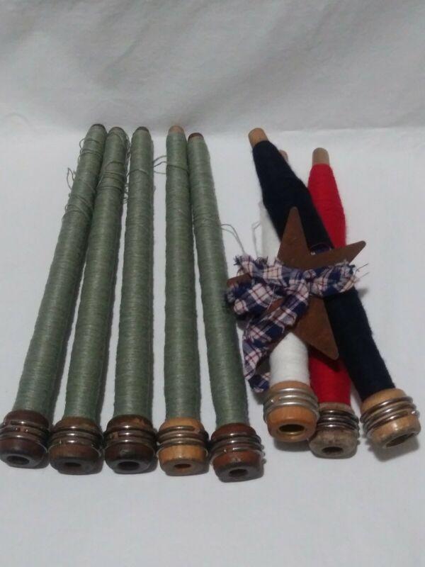 8 Antique Bobbins With Thread B3
