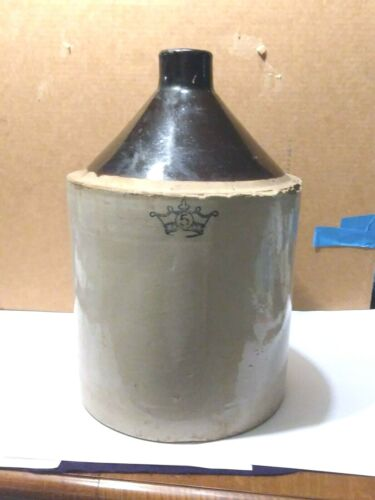 Vintage 5 Gallon Blue Crown Logo Shoulder Jug Stoneware