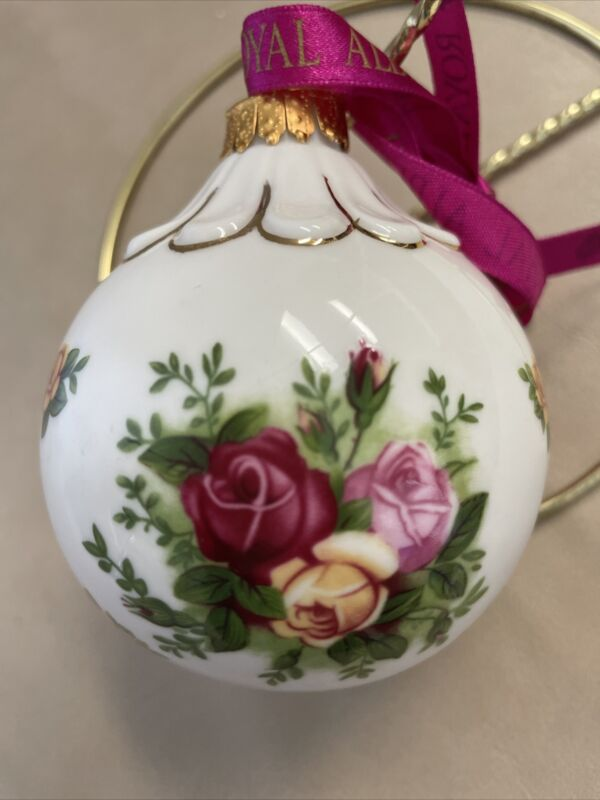 """Royal Albert Old Country Roses Round Ball Christmas Ornament with 11"""" Stand"""