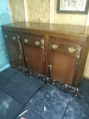 Antique CARVED  OAK  sideboard  no offers please