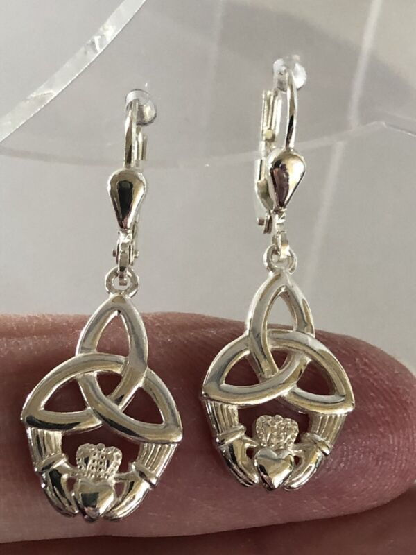 Sterling Silver Trinity Knot Claddagh Earrings - Irish Celtic Ireland