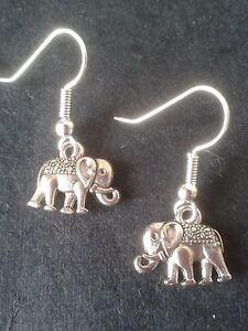 Elephant charm earrings,Tibetan silver/silver plated