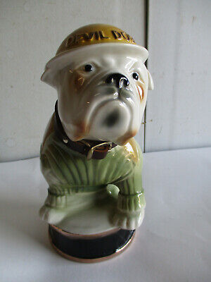 Vtg 1979 Jim Beam DEVIL DOGS USMC Decanter Bulldog Mascot Liquor Regal China