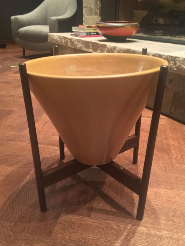 Authentic Architectural Pottery. Ceramic Planter in Walnut Base.  Mid-Century.