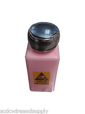Anti-Static Alcohol Liquid Push Down Dispenser Bottle PINK 250ml ESD